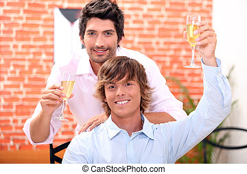 homosexual couple in restaurant