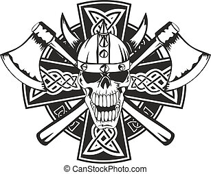 axes and skull - Celtic cross with crossed axes and skull
