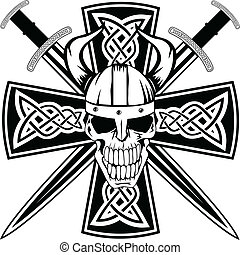 swords and skull - Celtic cross with crossed swords and...