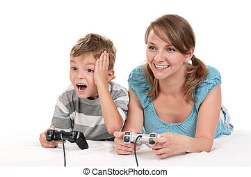 Happy family playing a video game - Happy family - mother...