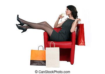 Woman enjoying a glass of wine