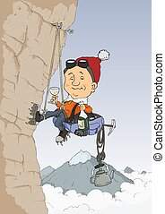 Climber - Rock climber climbs the hill and drink champagne