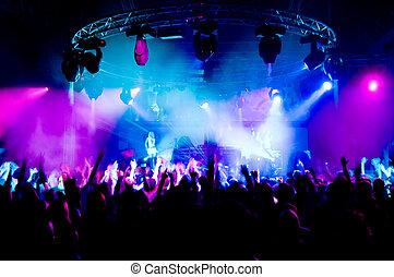 gens, danse, concert, anonyme, filles, étape