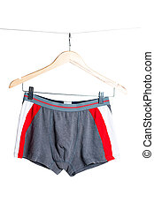grey and red men's boxer briefs on white background