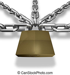 Chain closed with a lock.