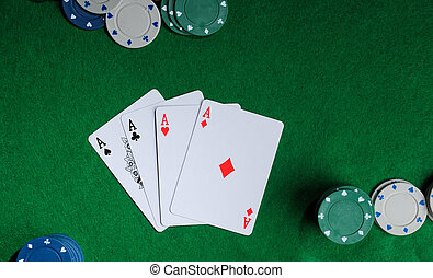 four aces - Background with four aces, playng cards and...