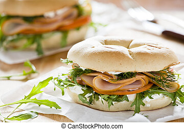 Cream Cheese Bagel - Photograph of a bagel sandwich with ham...