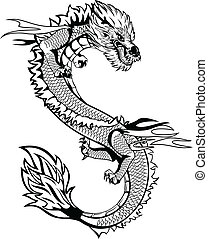 Asian dragon -  The vector image of head of the Asian dragon