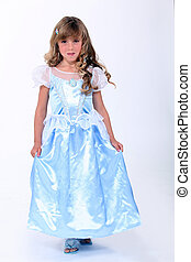 little blonde girl dressed as princess