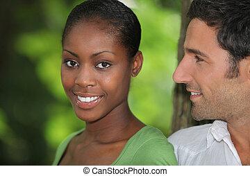 hombre, Mirar, el suyo, hermoso, novia