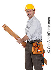 Tradesman carrying planks of wood
