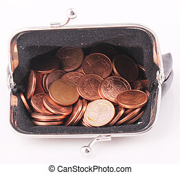 purse - A black purse with 1 cent coins