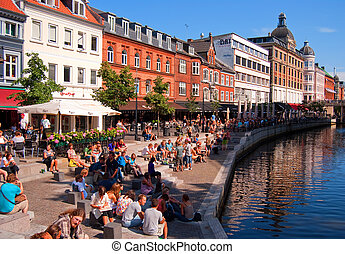 Aarhus canal - A popular drinking and eating area in the...