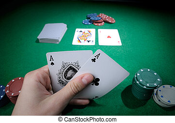 Two aces - Player hold poker cards with two aces!
