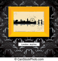 London skyline - grunge London skyline in yellow photo frame...