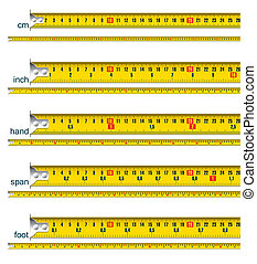 tape measures - tape measure in cm, cm and inch, cm and...