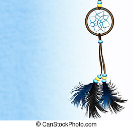 Dreamcatcher on blue background - Image of a Native American...