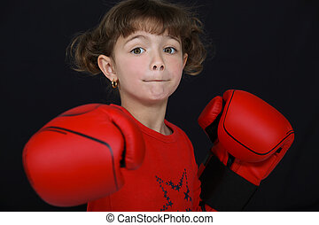 little girl boxing