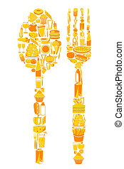 Spoon and Fork with food icon - illustration of spoon and...