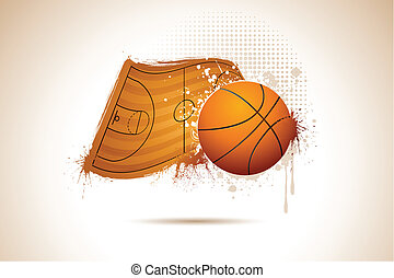 Basket Ball - illustration of basket ball on on field in...
