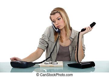 Overworked receptionist