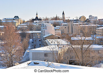 Finland. View of Lappeenranta before sunset - Finland. The...