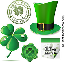 St. Patricks Day symbols vector set.
