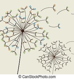 dandelions - cute dandelions over beige background. vector...
