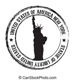 statue of liberty stamp isolate over white background....