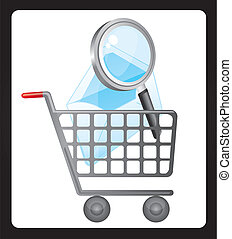 shopping cart - magnifyng glass over shopping cart. vector...