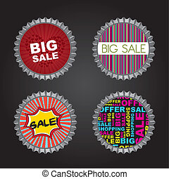 bottle caps with sale text over black background. vector