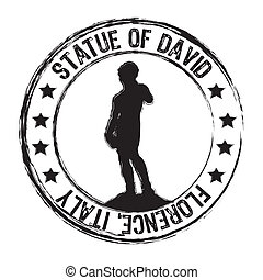 statue of david stamp isolated over white background. vector