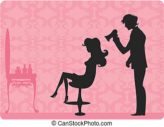 hairdressing salon - Vector illustration of the beautiful...