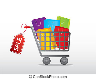 shopping cart with bags and tag over gray background vector