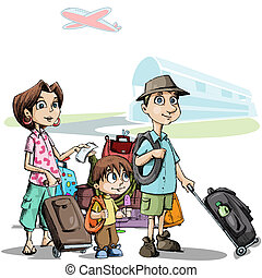 Family in Tour - illustration of family with luggage...