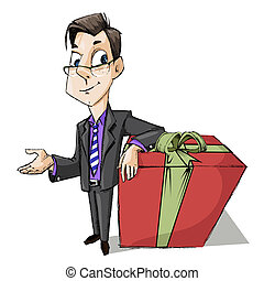 Business Man with Gift Box - illustration of business man...