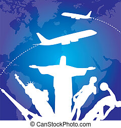 travel - sculptures with airplanes over blue background....