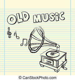 gramophone - grunge gramophone drawing over notebook vector...