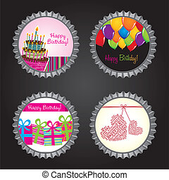bottle caps happy birthday over black background vector