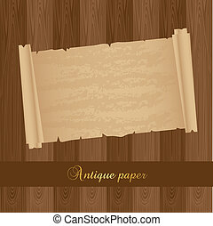 old paper over wooden textured, background. vector