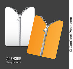 zip vector - documents with zip over gray background. vector...