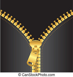 gold zip vector with black jacket, background. vector...