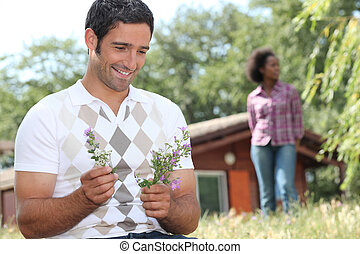Couple on holiday in the countryside