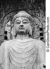 Longmen Grottoes close-up - It is located in Luoyang, China....