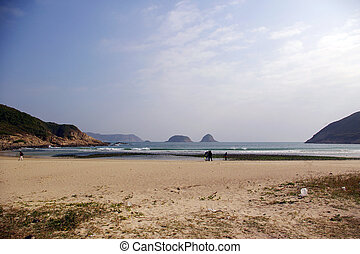 Sai Wan beach in Hong Kong at winter