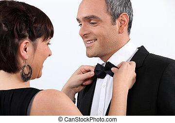 portion, cravate, arc, mari, épouse