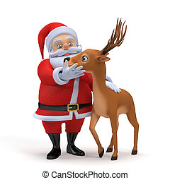Santa and his reindeer - 3d rendered illustration of a...