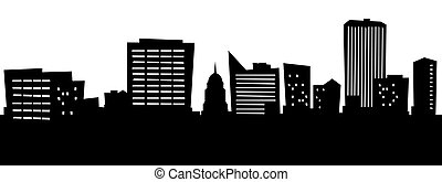 Cartoon Boise - Cartoon skyline silhouette of the city of...