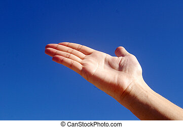 Giving hand under blue sky