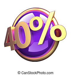 Discount button - 3d rendered, shiny gold purple discount...